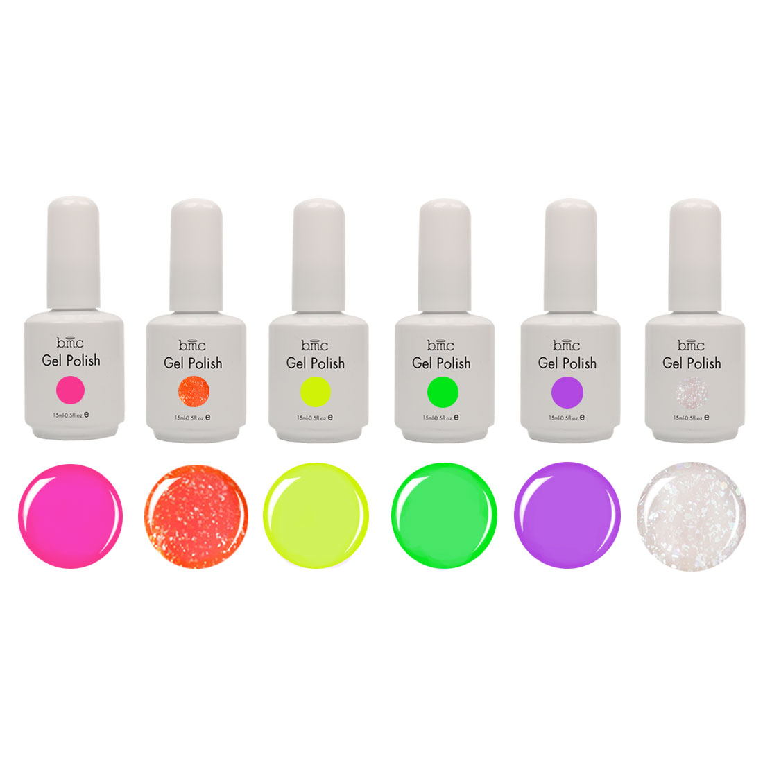 BMC 6pc Color UV/LED Gel Lacquer Nail Art Polish Manicure Collection-Mix Variety