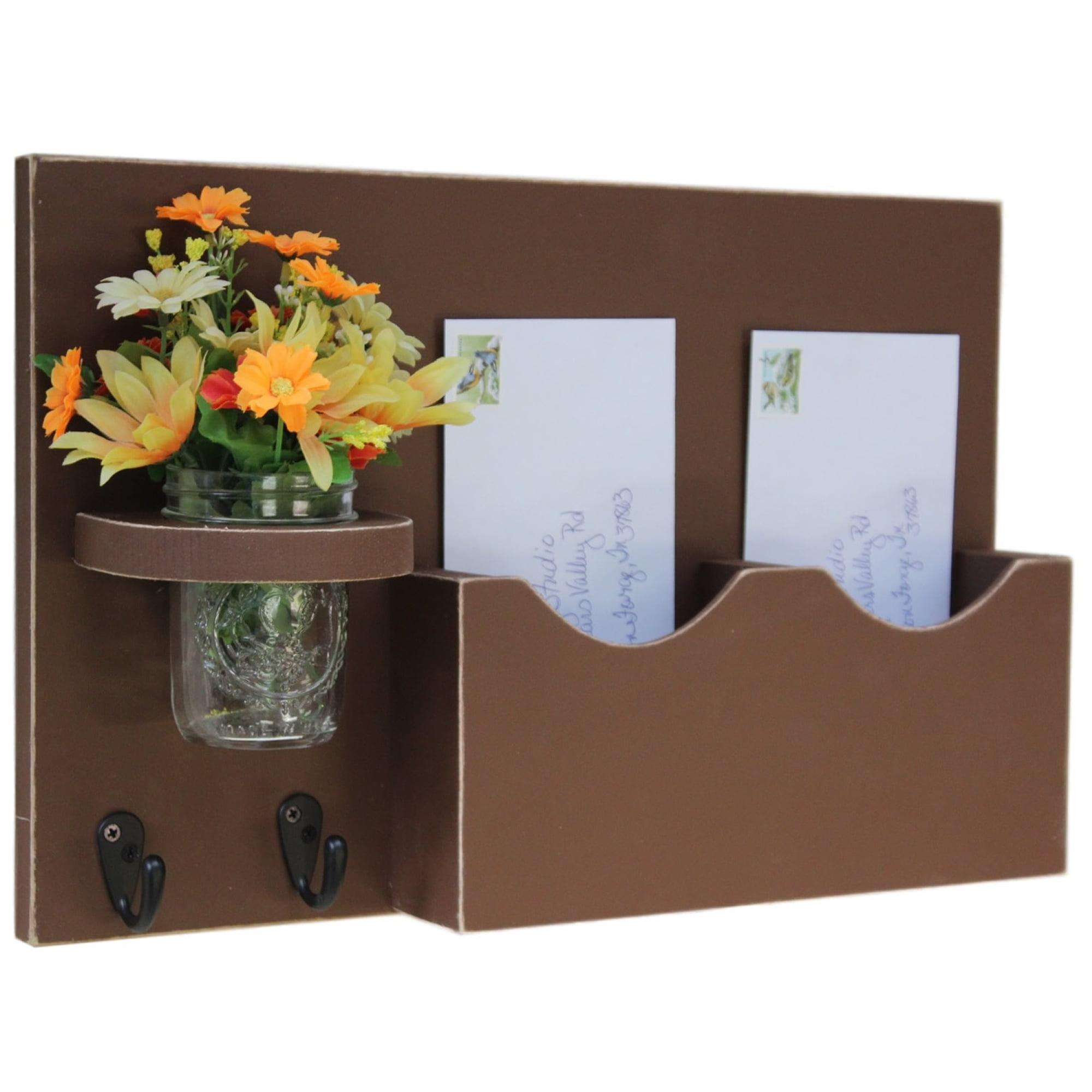 Double Slot Mail Organizer with Key Hooks & Mason Jar