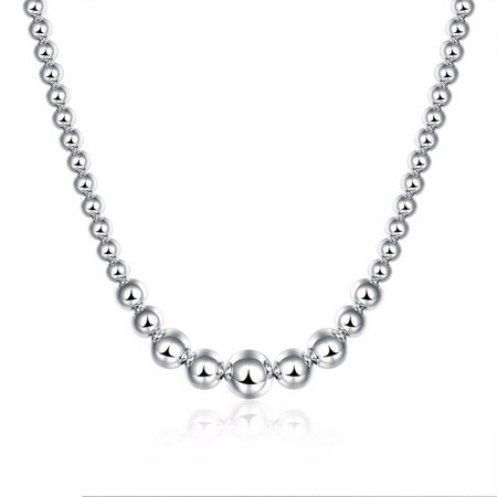 ON SALE - Graduated Beads Sterling Silver Necklace (Graduated Beaded Chain)