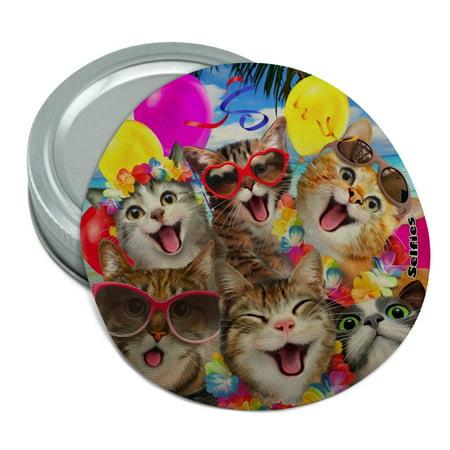 Hawaiin Birthday Party (Cats Hawaiian Luau Birthday Party Selfie Round Rubber Non-Slip Jar Gripper Lid)