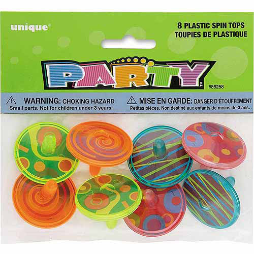 Plastic Spin Tops, 8-Count