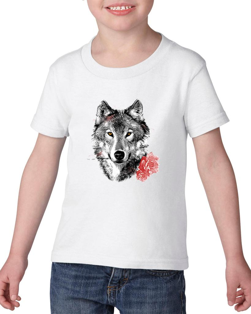 Artix Wolf With Carnatio Gift for BFF Birthday Christmas Party Fathers Day Heavy Cotton Toddler Kids T-Shirt Tee Clothing