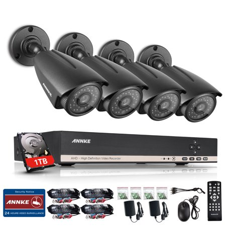 ANNKE 720P HD 4 Camera 8CH Security System DVR with 1TB HDD 1.0 Bullet Cam Surveillance (Xe262h 10 Cam)