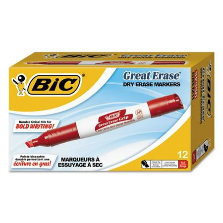BIC Great Erase Grip Chisel Tip Dry Erase Markers, Low-Odor, Red, Dozen -BICGDEM11RD Bic Velleda Whiteboard Marker
