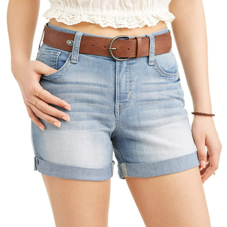 Juniors' Belted Hi-Rise Mid-Thigh Rolled Cuff Denim Shorts