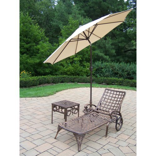 Oakland Living Elite Cast Aluminum Chaise Lounge Set with Tilting Umbrella and Stand