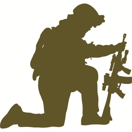 Kneeling Soldier With Gun Vinyl Wall Decal Picture Art, 20