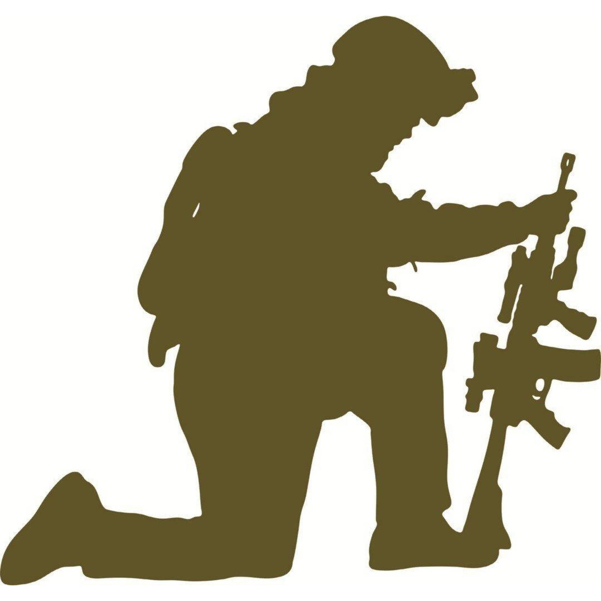 "Kneeling Soldier With Gun Vinyl Wall Decal Picture Art, 20"" x 20"", Green"