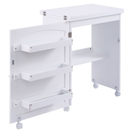 Costway Folding Swing Craft Table Shelves Storage Cabinet Home W/ Wheels - image 7 of 10