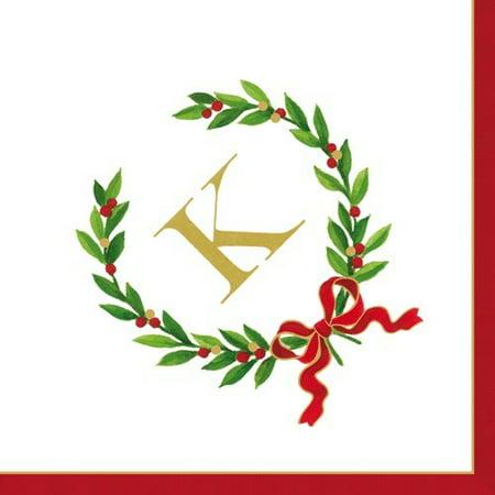 Christmas Monogram Initial K Paper Cocktail Napkins 20pk (Monogramed Napkins)