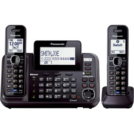 Panasonic KX-TG9542B DECT 6.0 Plus 2-Line Link2Cell Bluetooth-Enabled Answering System with Base Keypad and 2... by