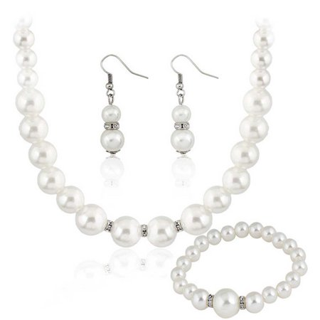 Fancyleo Faux Pearl Necklace Set Women Necklace Earring Bracelet Bridal Wedding Jewelry Set Costume Jewelry Necklace Earring