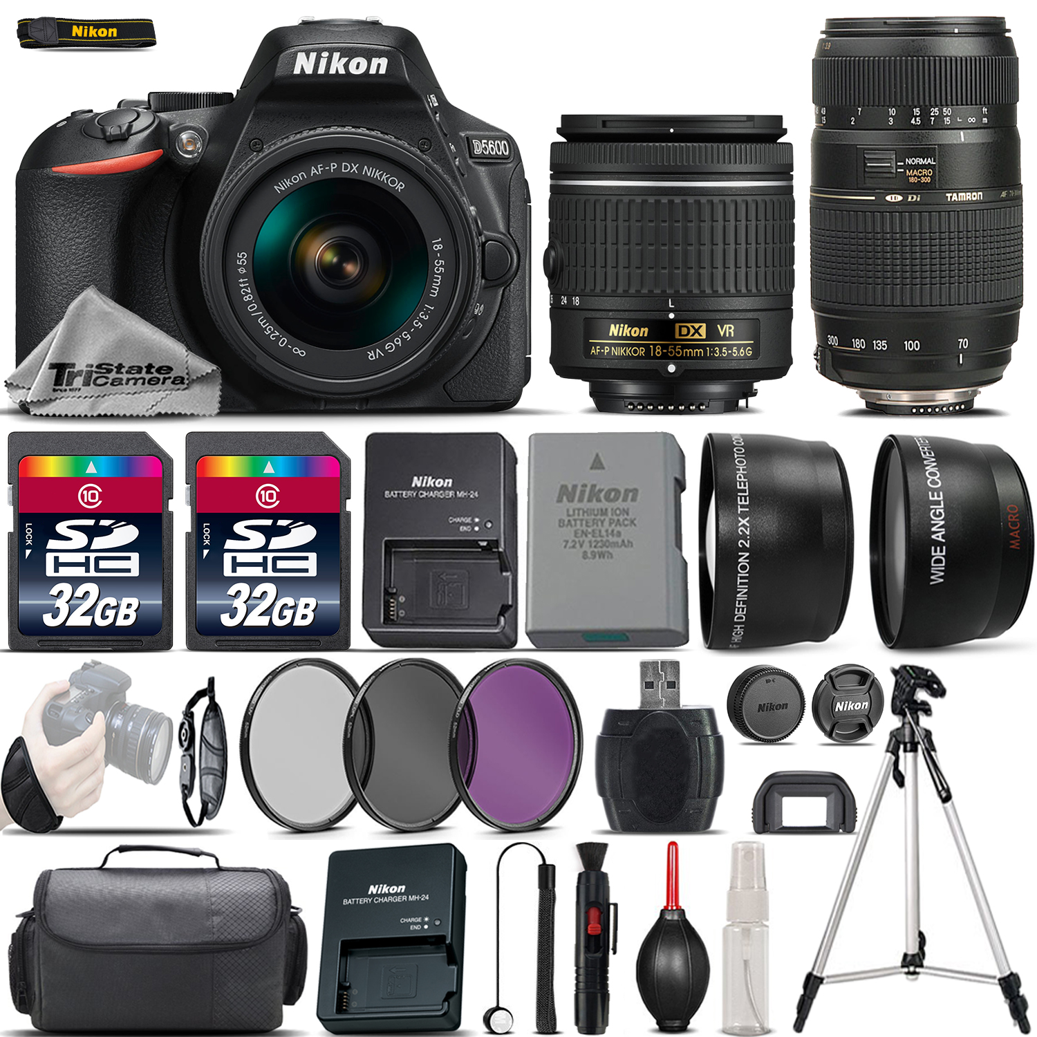 Nikon D5600 Digital SLR Camera + 18-55mm VR + 70-300mm + 64GB & More -4 Lens Kit