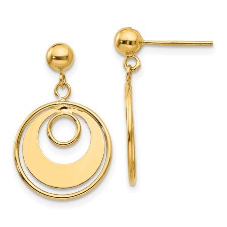 14k Yellow Gold Circle Post Stud Earrings Drop Dangle