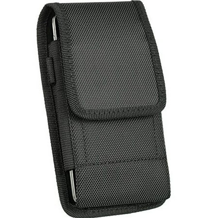 Heavy Duty Metal Clip Holster Black Nylon Pouch Cell Phone Case + D Ring HookFor Samsung Galaxy S3 mini , S4