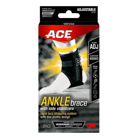 ACE Ankle Support with Side Stabilizers, Adjustable, Black,