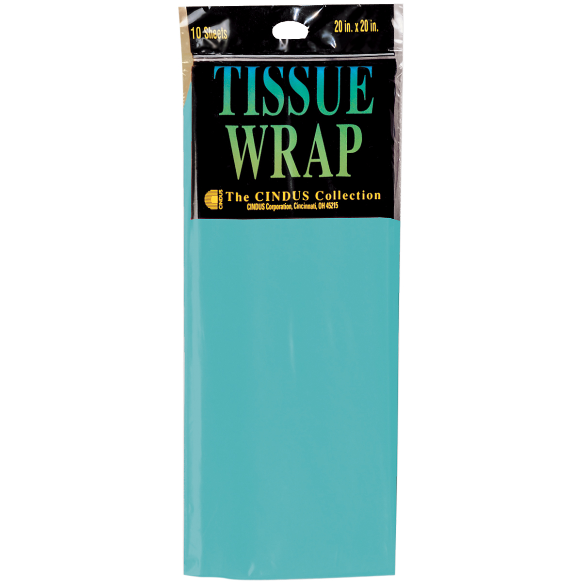 """Tissue Wrap 20""""X20"""" 10/Pkg-Turquoise"""
