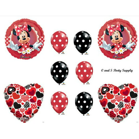 RED MAD ABOUT MINNIE MOUSE DECORATIVE BIRTHDAY PARTY Balloons Decorations Supplies](Minnie Mouse Red Party Supplies)