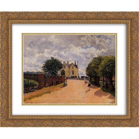 Alfred Sisley 2X Matted 24X20 Gold Ornate Framed Art Print Inn At East Molesey With Hampton Court Bridge