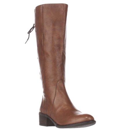 Womens Steve Madden Laceup Wide Calf Boots - Cognac
