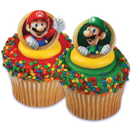 24 Super Mario Luigi Cupcake Cake Rings Birthday Party Favors Toppers - Mario Birthday Party