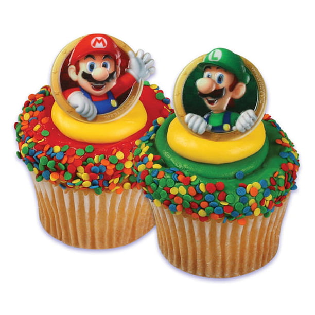 Astonishing 24 Super Mario Luigi Cupcake Cake Rings Birthday Party Favors Birthday Cards Printable Opercafe Filternl