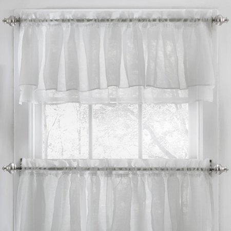 Sweet Home Collection Elegant Crushed Voile Ruffle Kitchen