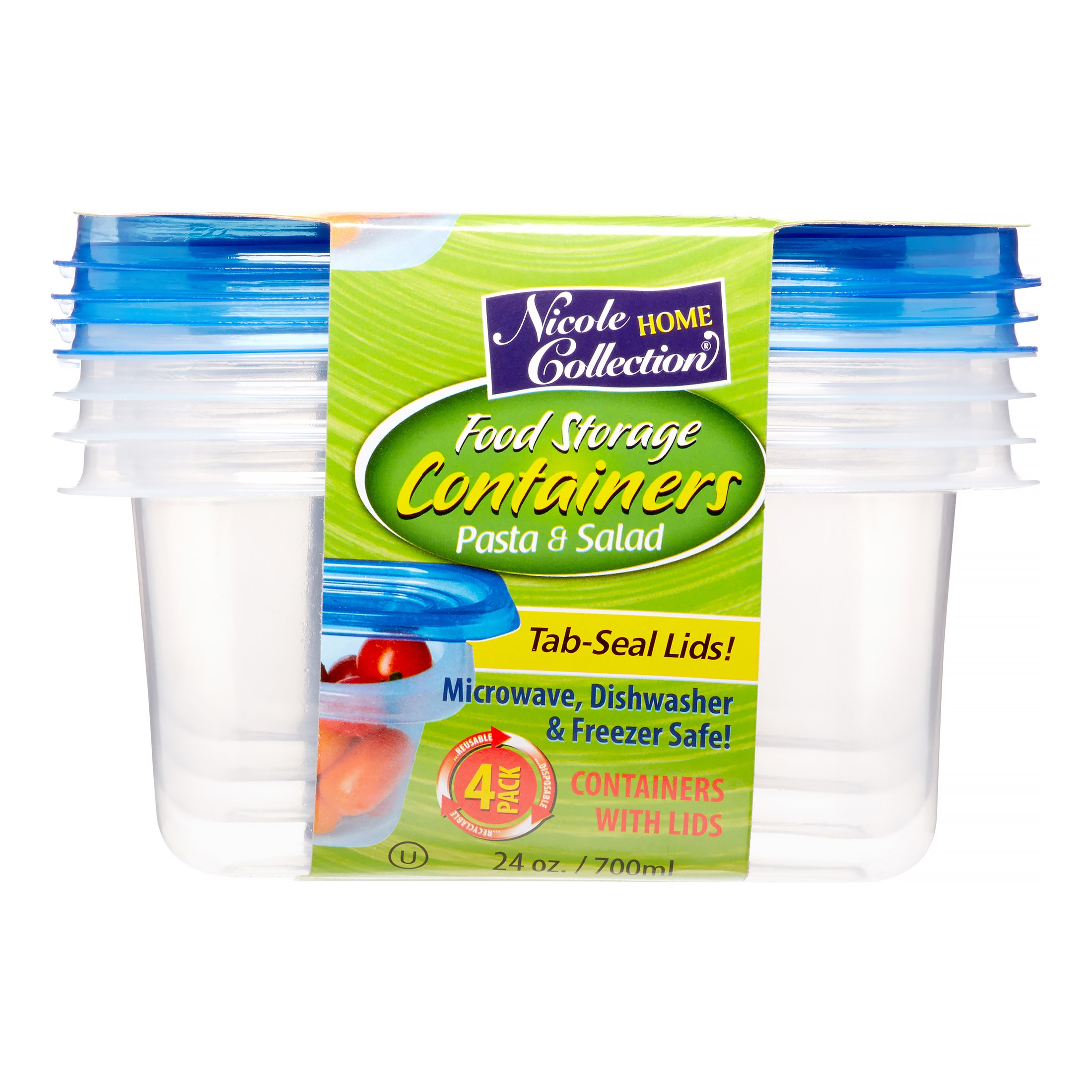 Nicole Home Collection Containers with Lid, Rectangular, 24 Oz, Clear, 4 Ct