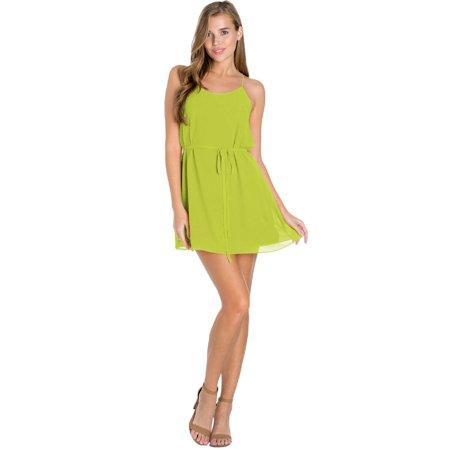 Made by Olivia Women's Spaghetti Strap Sleeveless Cami Dress W/ Belt Greenapple