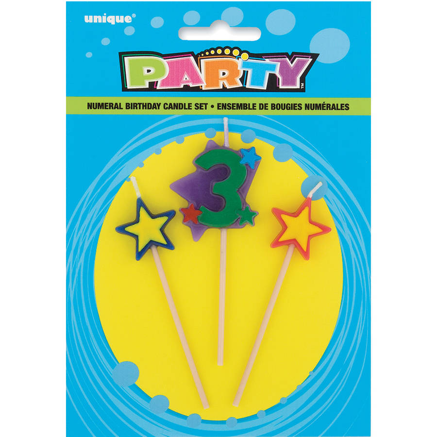 Stars & Number 3 Birthday Candles Set, 4 in, Multicolor, 3pc