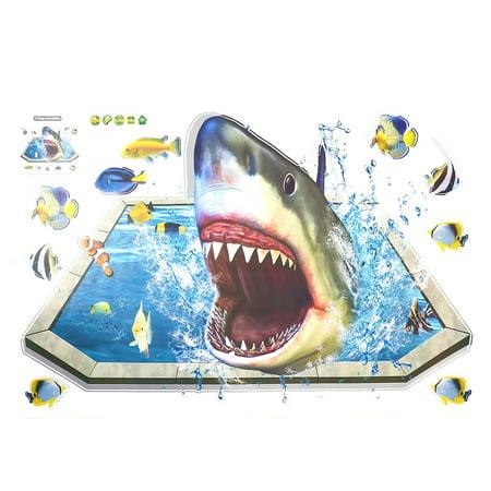 Living Room PVC Shark Fish Prints Ornament Wall Sticker Decal Mural 60 x 90cm (Shrek Wall Decals)