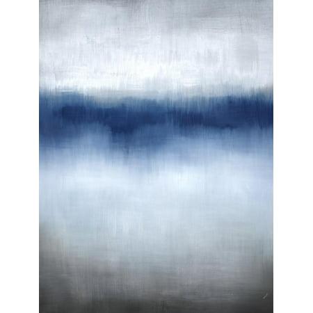 Linear Blue Horizon Transitional Abstract Landscape Print Wall Art By Kari Taylor ()