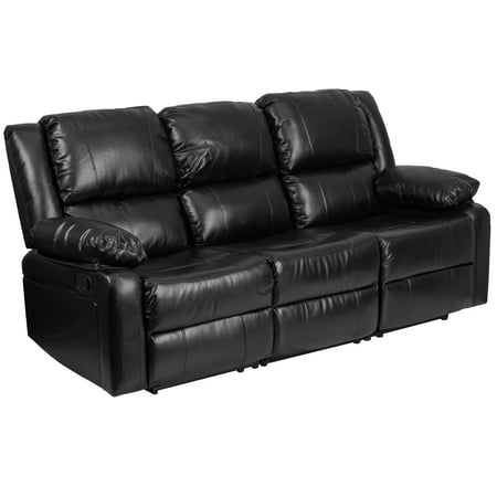 Flash Furniture Harmony Series Black Leather Sofa with Two Built-In Recliners ()