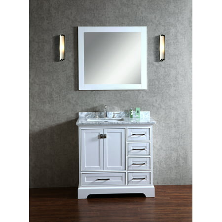 Newport White 36 Inch Single Sink Bathroom Vanity With Mirror