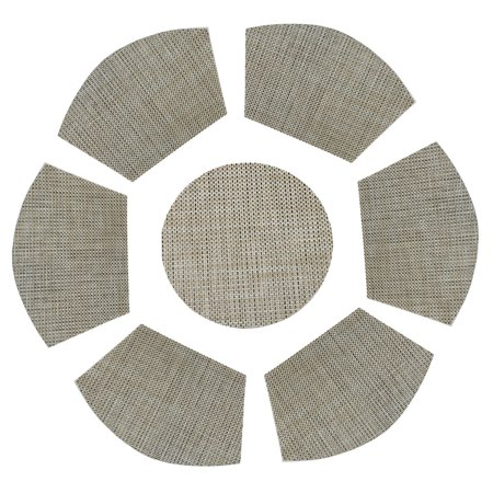 Pattern For Placemats For Round Table.Round Table Wedge Shaped Placemats Set Of 6 Plus Center Round Placemats For Kitchen Table Heat Insulation Stain Resistant Washable Place Mat Woven