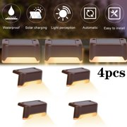 EVERKING 4pcs Solar Deck Lights Outdoor, Solar Step Lights Waterproof Solar lights for Outdoor Stairs, Step, Fence, Yard, Patio and Pathway (Brown, Warm White Light)