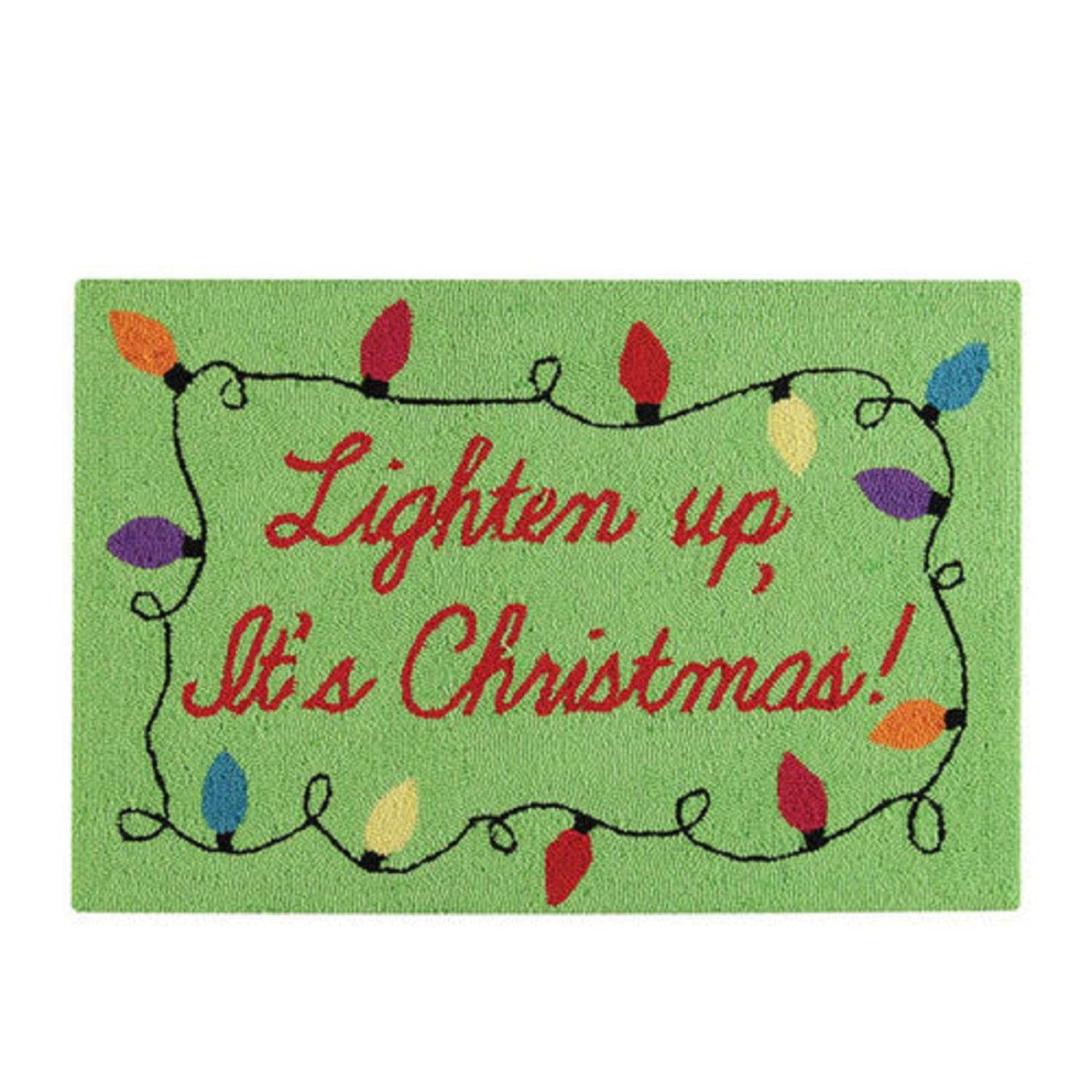 "22"" x 34"" Green ""Lighten Up, It's Christmas!"" Decorative Hooked Area Throw Rug"