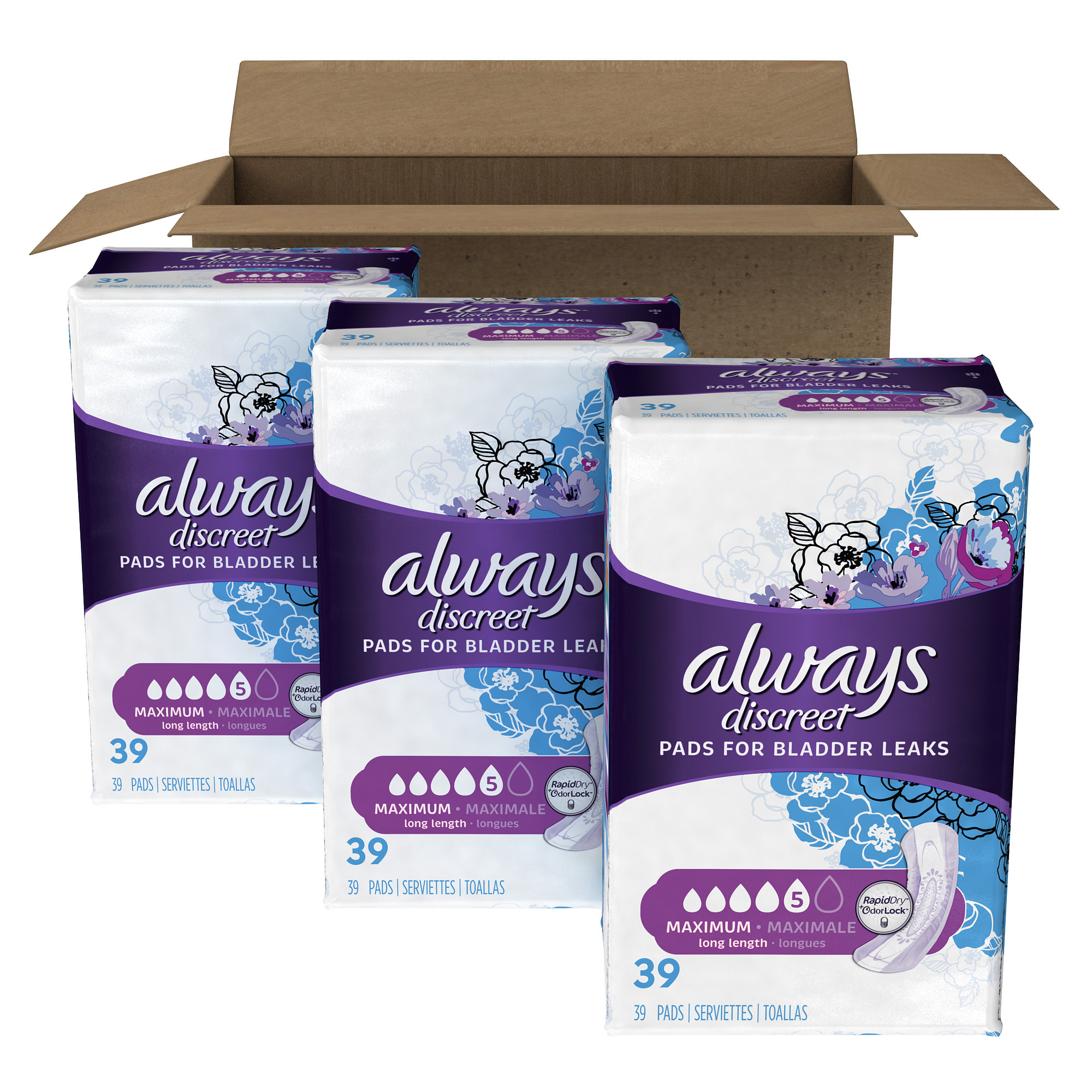 Always Discreet, Incontinence Pads, Maximum, Long Length, 117 Count