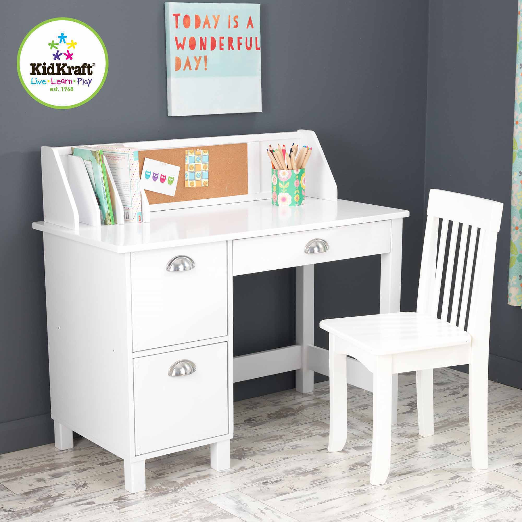 KidKraft Study Desk with Side Drawers, White