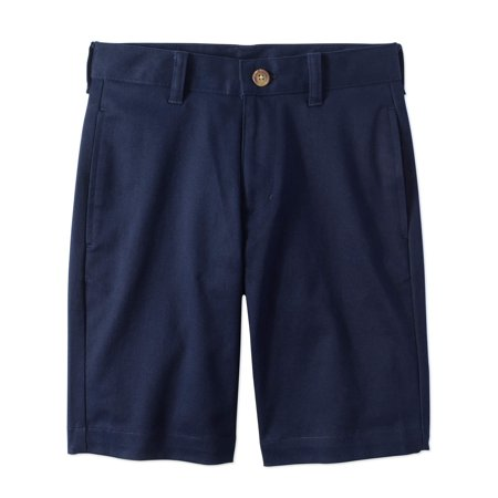 Boys Flat Front Shorts - Wonder Nation Prep School Uniform Super Soft Flat Front Shorts (Big Boys)