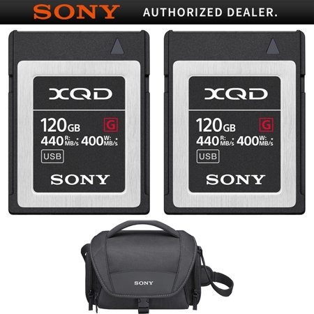 Cyber Shot Soft Case (Sony Professional XQD G-Series 120GB Memory Card 2 Pack (QD-G120F) with Sony Soft Carrying Case for Cyber-Shot and Alpha Cameras Black)
