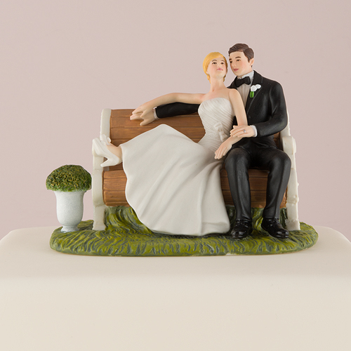 Sitting Pretty on a Park Bench Bride and Groom Wedding Cake Topper