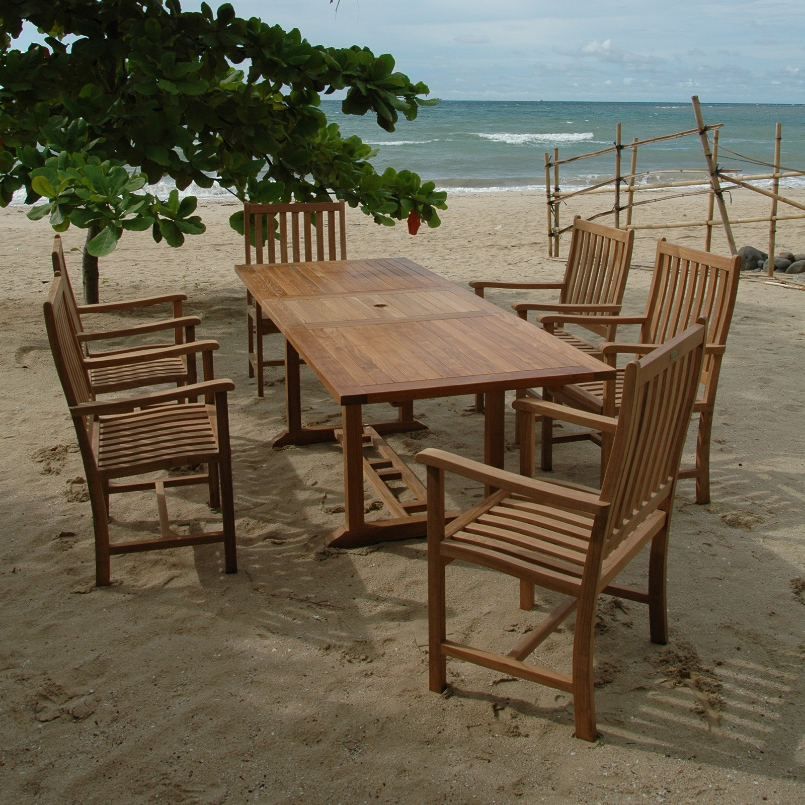 Anderson Teak Wilshire 9 Piece Extension Patio Dining Room Set by Anderson