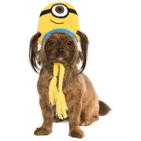 Evil Minion Dog Costume (Despicable Me Pet Minion Stuart Knit Dog Costume Headpiece Hat)