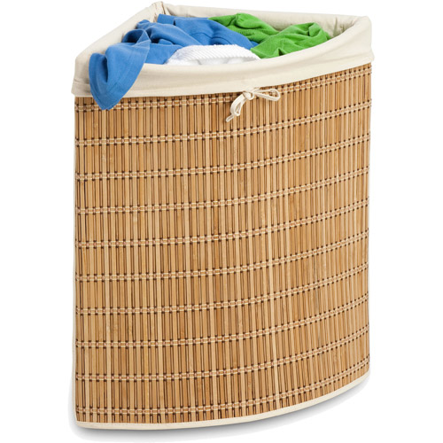 Honey Can Do Large Wicker Basket with Handles and Liner, Natural