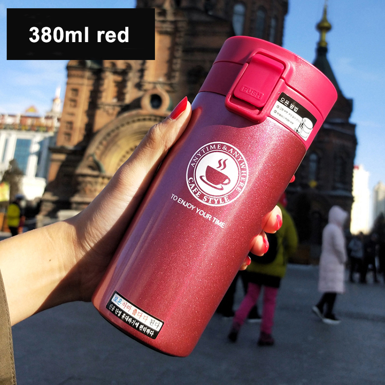 Fashion 380ml/13OZ Stainless Steel Vacuum Coffee Tea Water Warming Thermos Flask Insulated Drinking Bottle for Travel Office