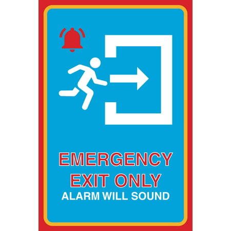 Emergency Exit Only Alarm Will Sound Print Bell Running Man Right Arrow Picture Business Office Safety - Bell 2010 Arrow