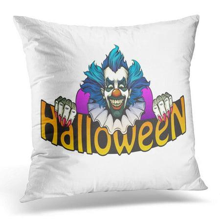 ECCOT Character Black Monster Evil Clown Halloween Green Bright Circus Pillowcase Pillow Cover Cushion Case 16x16 - Evil Circus