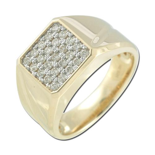 14K Yellow Gold 0.49ct King's Glory Invisible Set Round Diamond Men's Ring