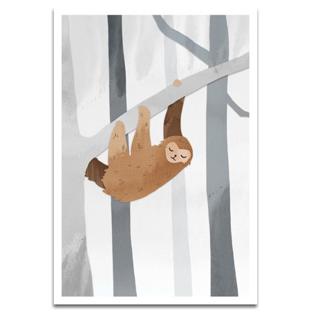 Visionary Prints 'Cutout Sloth' | Animals Wall Art - Brown Sloth hanging from Tree - Animals Art | Modern Contemporary Poster Print, 13x19 inch](Sloth Rental)